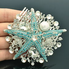 Imitated Pearl Blue Starfish Hair Comb Hair Jewelry Rhinestone Crystal Fish 6412