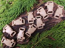 """10 x 13mm 1/2"""" Desert Tan CURVO RAPIDO RILASCIO PARACORD fibbie con fischietto"""