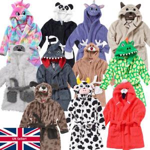 Animal Crazy Boys Girls Novelty Animal Robe Gown Unicorn Dinosaur Fleece Hooded