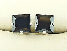 925 STERLING SILVER EARRINGS SQUARE PRINCESS 6MM BLACK CREATED DIAMOND s1015