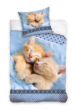 2-tlg. Jugend Bettwäsche 135x200 Baumwolle Katze Katzen Tiere cat