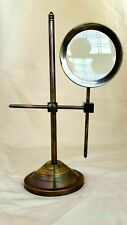 Antique Brass Magnifier Maritime Adjustable stand Magnifying Glass Desk Top Gift