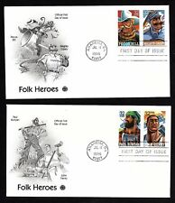 #3083-3086 32c Folk Heroes - Set of 4 on 2 PCS FDCs w/ Info Pages