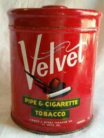 Antique Vintage Red Velvet Cigar Tobacco Holder Can Metal Pipe Tin