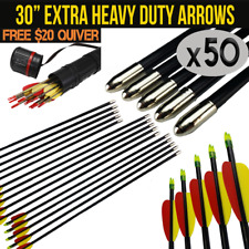 "50X 30"" FIBREGLASS ARROWS FOR COMPOUND OR RECURVE BOW TARGET ARCHERY NEW"
