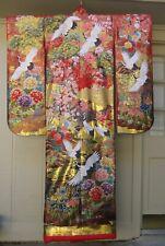 Rare Museum Vintage Japanese Wedding Uchikake Furisode Cranes Gold Silk Kimono