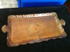 Stunning Antique Copper Tray Arts and Crafts Handbeaten Decoration Lovely item!