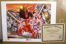 "Dynamic Forces 2001 Marvel Limited Elektra Litho Print Greg Horn w/ COA 24x18"""