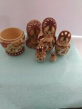 Russian Hand Painted Wooden Nesting Dolls Set 5 Piece - Made in Germany