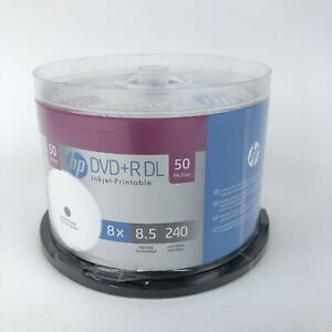 50 HP White Inkject Printable DVD+R DL 8X 8.5GB 240 Minute New Sealed