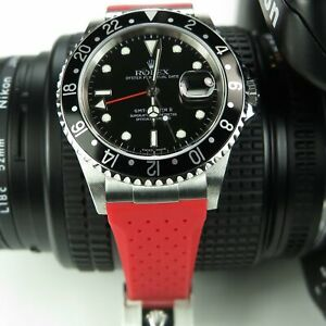OT AK End Link & 20/16mm Breathable Rubber Strap Band fit Rolex GMT Master