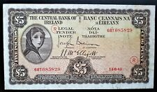 IRELAND  1943 WAR CODE (R)    £5  LADY  LAVERY    BANKNOTE