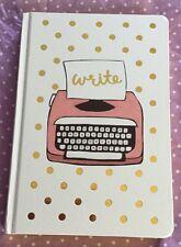 Retro Blank Lined Hardcover Typewriter Notebook Polka Dot White Pink Journal