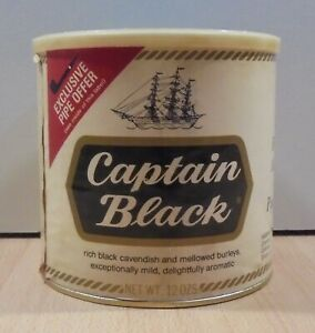 CAPTAIN BLACK PIPE TOBACCO TIN BOX EMPTY