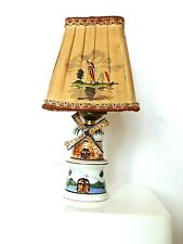 """Antique  GOUDA HOLLAND POTTERY  WINDMILL LAMP w/ Shade  7 1/2"""" Tall"""