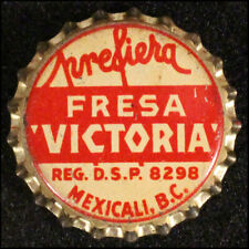"""PREFIERA FRESA """"VICTORIA"""" STRAWBERRY CORK SODA BOTTLE CAP CROWN MEXICALI, MEXICO"""