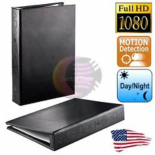 1080p HD Hidden Spy Camera Book Folder w/ Night Vision Home Surveillance IR pen