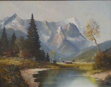 """Wagner """"Alpensee vor Bergmassiv"""", Öl/Malfaser, gerahmt  (242/12109)"""