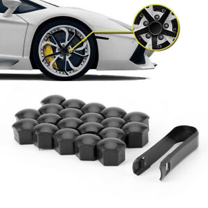 20x 17mm Wheel Lug Nut Bolt Center Cover Black Caps & Tool Fit For VW Audi Skoda