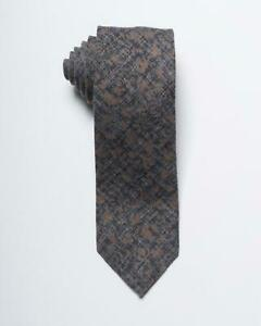 """Isaia Napoli NWT Gray Grey Brown Floral Print 100% Wool Tie 3"""" 7.5 cm"""