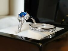 White gold finish blue sapphire and created diamond ring set gift idea free post