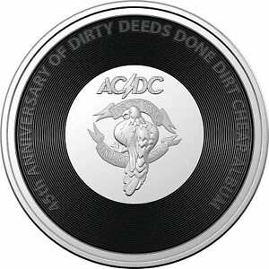2021 20c AC/DC 45th Anniversary of Dirty Deeds Done Dirty Cheap Coloured Coin