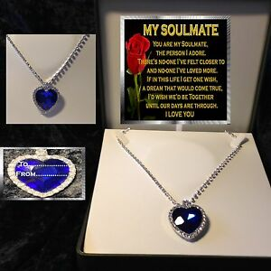 MY SOULMATE VERSE TITANIC LARGE BLUE CRYSTAL HEART NECKLACE BOX GIFT  CHRISTMAS
