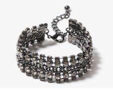 Forever 21 Dark Grey Rhinestone Bracelet NWT Gunmetal