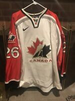 vintage Team Canada 2000 World Game Worn Used Jersey LOTS OF WEAR ice hockey !!!