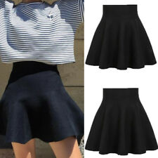 Fashion Women's Stretch Waist Plain Skater Flared Pleated Mini Skirt Short