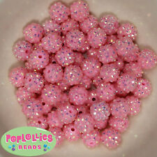 14mm Pink Rhinestone Resin Bubblegum Beads Lot 20 pc.chunky gumball