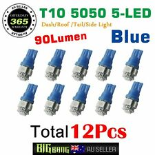 12PCS T10 LED Car Wedge Dash Roof Corner Festoon Interior Plate Light Globe Blue