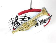 Trumpet w Music Notes For Band Christmas Tree Ornament You Personalize