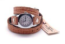 "RED MONKEY Women's White Dial Camel Leather Triple Wrap Silver Wrist Watch 6-8"""
