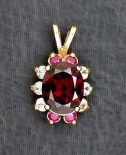 14Kt REAL Yellow Gold Oval Garnet Ruby Topaz Gemstone Cluster Pendant EBS199EP34