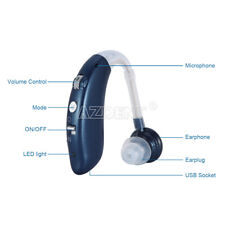 Digital Hearing Aid Severe Loss USB Invisible BTE Ear Aids Audiphone High-Power