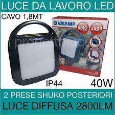 VELAMP LAMPADA PROIETTORE FARO DA LAVORO LED CON 2 PRESE SCHUKO  40W   2800lm