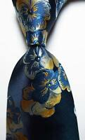 New Classic Floral Blue Gold White JACQUARD WOVEN 100% Silk Men's Tie Necktie