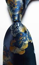 New Classic Floral Blue Gold White JACQUARD WOVEN 100% Silk Men's Tie Necktie
