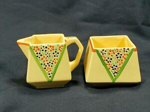 Vintage PrimaRosa Hand-Painted Yellow Creamer Sugar Bowl Set Made In England