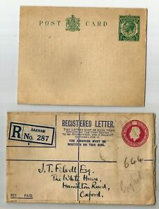 GB 1918 Registered letter cover 4 1/2d + King GV 1/2 d post card unused, the cov
