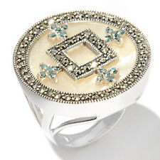 Dallas Prince Designs Mother-of-Pearl, Blue Diamond and Marcasite Ring $309.90