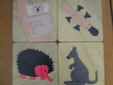 HANDMADE WOODEN SET 4 SMALL AUSSIE ANIMALS PUZZLES