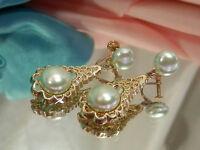 Beautiful Vintage 1950's Soft Blue Faux Pearl Dangle Earrings  1542o