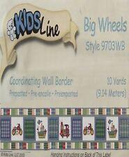 KIDSLINE BIG WHEELS FIRETRUCKS CYCLES 30 FT  WALL BORDER NEW