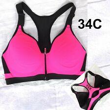 VSX Sports Bra Size 34C Victoria's Secret Pink and Black Zip Front Razor Back