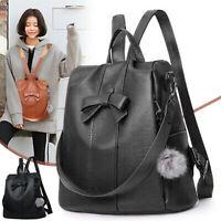 Ladies Women Girls Backpack Travel Shoulder Bag PU Leather Rucksack Handbag