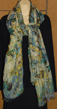 "EPICE - Blue / Green - Floral - 100% Wool Scarf 40 "" x 82"" *NEW TAGS! Authentic!"