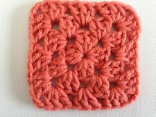 "20 4"" PERSIMMON Hand Crocheted GRANNY SQUARES Afghan Yarn Blanket Blocks orange"
