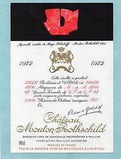 PAUILLAC 1EGCC ETIQUETTE CHATEAU MOUTON ROTHSCHILD 1972 148 CL DECOREE§01/04/18§